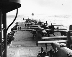 USS Hornet CV8 | 1942 with Doolittle Raid B25 Bombers | CLICK HERE TO ENLARGE